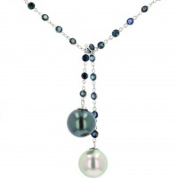 Sapphires Tahitian Pearl Gold Jewelry Necklace Colliers de Perles de Tahiti or bijoux