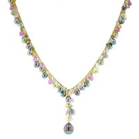 Pink Sapphires Tahitian Pearl gold Jewelry necklace colliers de perle de tahiti bijoux or