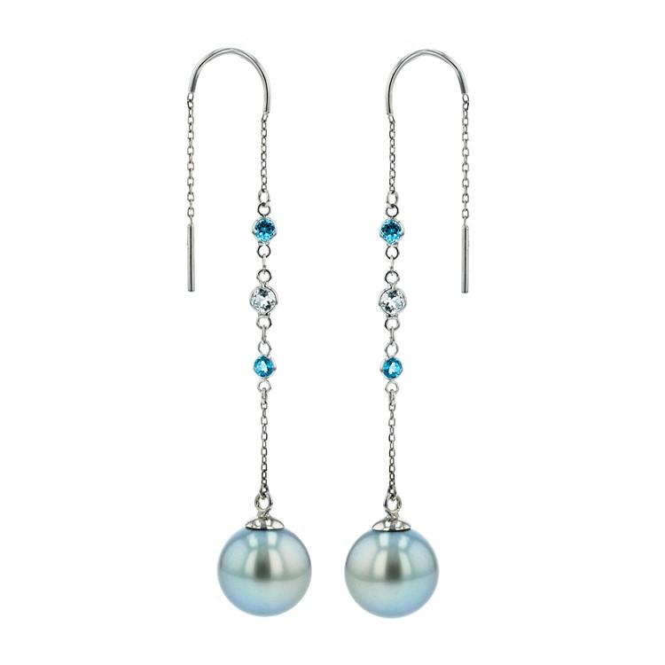 Sapphires Tahitian Pearl Gold Jewelry Earrings Boucle d'oreilles de Perles de Tahiti or bijoux