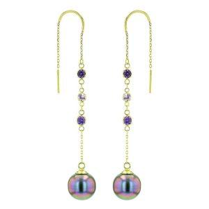Pink Purple Sapphires Tahitian Pearl gold Jewelry Earrings Boucle d'oreille de perle de tahiti bijoux or