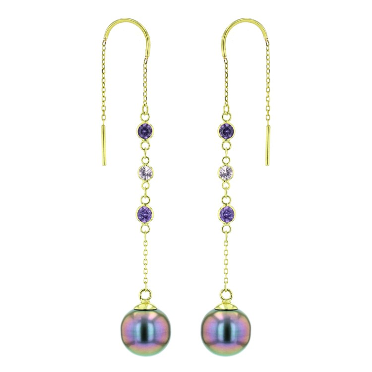 Pink Purple Sapphires Tahitian Pearl gold Jewelry Earrings Boucle d'oreille de perle de tahiti bijoux or