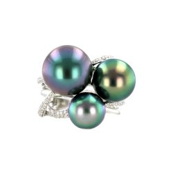 Diamond Tahitian Pearl Gold Jewelry Ring Bague de Perles de Tahiti or bijoux diamants
