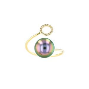 Diamond Tahitian Pearl Gold Jewelry Ring Bague de Perles de Tahiti or bijoux diamants