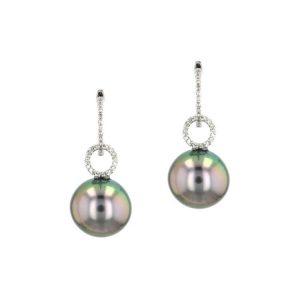 Diamonds Tahitian Pearl Gold Jewelry Earrings Boucle d'oreilles de Perles de Tahiti or bijoux