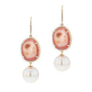 Geode Diamond Tahitian Pearl gold Jewelry Earrings Boucle d'oreille de perle de tahiti bijoux or