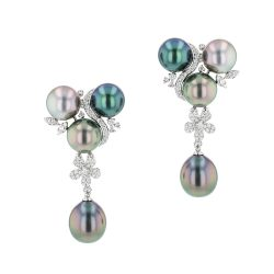 Pearl & Diamond Earrings, Diamonds, White Gold, Earrings, Tahitian Pearl, Hinerava, perles de tahiti