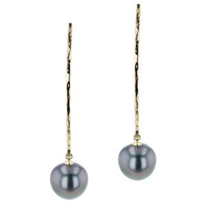 Tahitian Pearl Jewelry, Tahitan Pearls, Tahiti, Luxury Pearl Jewelry, Pearl Ring, Pearl Bracelet, Pearl Earrings, Pearl Necklace, Pearl Diamond , Long Hammered Hook White Gold, yellow gold, Earrings