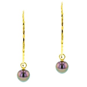 Tahitian Pearl silver Jewelry Earrings Boucle d'oreille de perle de tahiti bijoux vermeil
