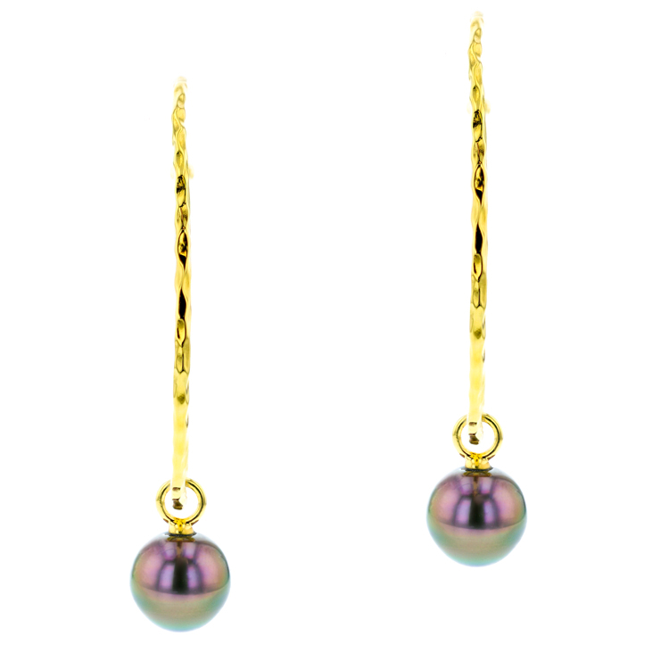 Tahitian Pearl silver Jewelry Earrings Boucle d'oreille de perle de tahiti bijoux vermeil