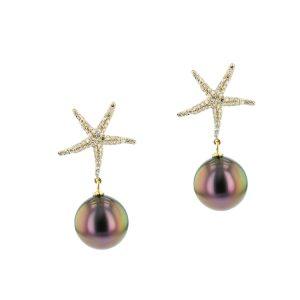 Diamond Tahitian Pearl Gold Jewelry Necklace Colliers de Perles de Tahiti or bijoux diamants
