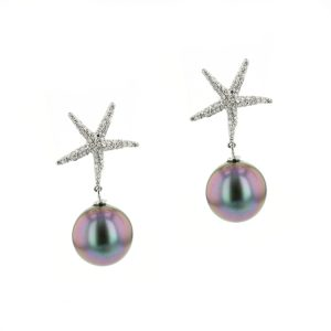 Diamond Starfish White Gold & Pearl Earrings, Tahitian Pearl Jewelry, Tahitan Pearls, Tahiti, Luxury Pearl Jewelry, Pearl Ring, Pearl Bracelet, Pearl Earrings, Pearl Necklace, Pearl Diamond