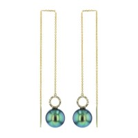 Diamonds Tahitian Pearl Gold Jewelry Earrings Boucle d'oreilles de Perles de Tahiti or bijoux