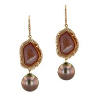Geode Diamond Tahitian Pearl gold Jewelry Earrings Boucle d'oreille de perle de tahiti bijoux or