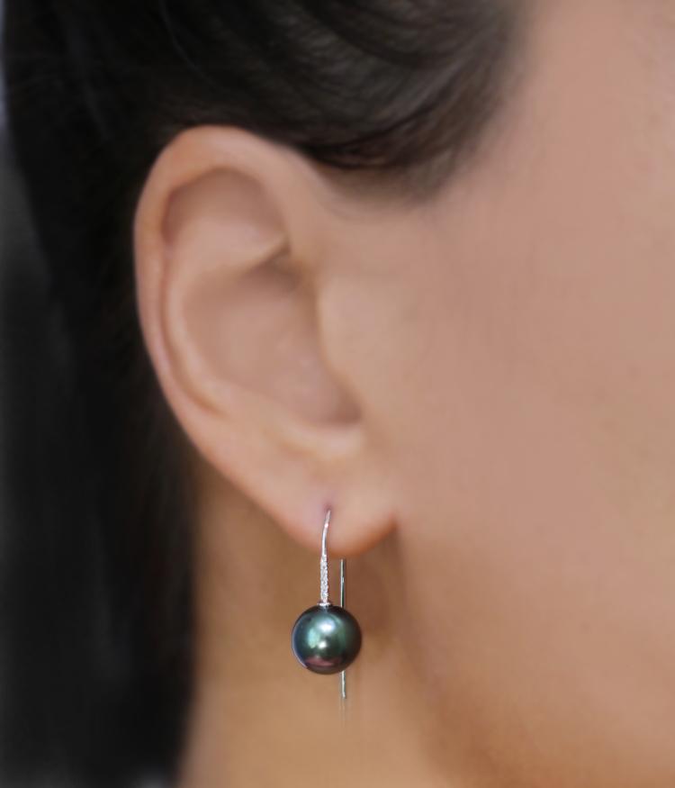 Short Diamond Bar Pearl Earring
