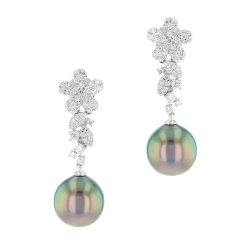 Flower Diamond & Pearl Earrings, diamond and Tahitian Pearl, white gold, earrings, bijoux or
