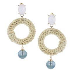 Rattan Pearl Earrings, Necklace Tahitian Pearl Jewelry perle de tahiti bijoux resin gold plated