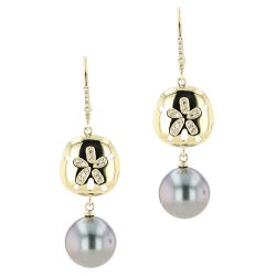 Sand Dollar & Pearl Earrings, Diamonds, Yellow Gold, Earrings, Tahitian Pearl, Hinerava, perles de tahiti