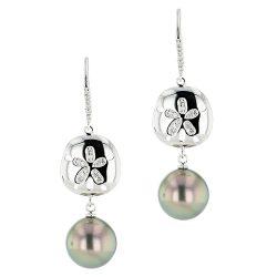 Sand Dollar & Pearl Earrings, Diamonds, White Gold, Earrings, Tahitian Pearl, Hinerava, perles de tahiti