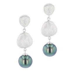 Double Matte Pearl Earrings, Tahitian Pearl Vermeil Jewelry, Tahitan Pearls, Tahiti, Luxury Pearl Jewelry, Pearl Ring, Pearl Bracelet, Pearl Earrings, Pearl Necklace, Hinerava, perles de tahiti
