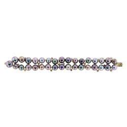 Pink Sapphire and Pearl Bracelet, Sapphire, Yellow Gold, Bracelet, Tahitian Pearl, Hinerava, perles de tahiti