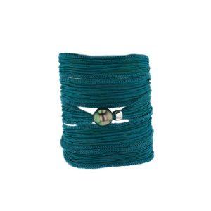 Teal Silk Pearl Bracelet, Tahitian Pearl Jewelry bracelet de Perles de Tahiti bijoux soie silk choker