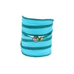 Tahitian Pearl Jewelry bracelet de Perles de Tahiti bijoux soie silk choker, Light Turquoise Silk Pearl Bracelet
