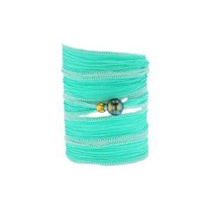 Tahitian Pearl Jewelry bracelet de Perles de Tahiti bijoux soie silk choker, Turquoise Silk Pearl Bracelet