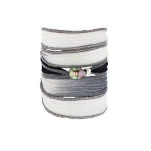 Tahitian Pearl Jewelry bracelet de Perles de Tahiti bijoux soie silk choker, June Gloom Silk Pearl Bracelet