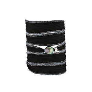 Tahitian Pearl Jewelry bracelet de Perles de Tahiti bijoux soie silk choker, Jet Black Silk Pearl Bracelet