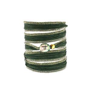Tahitian Pearl Jewelry bracelet de Perles de Tahiti bijoux soie silk choker, Emerald Green Silk Pearl Bracelet