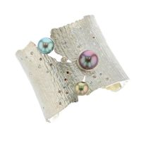 Pearl Sunset Cuff, Diamonds Tahitian Pearl Gold Jewelry bracelet de Perles de Tahiti or bijoux