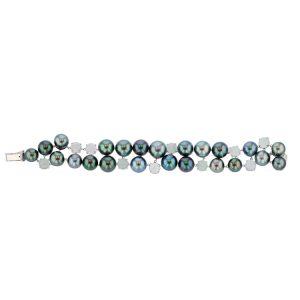 Aquamarine & Diamond Pearl Bib, Tahitian Pearl Jewelry, Tahitan Pearls, Tahiti, Luxury Pearl Jewelry