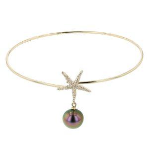 Starfish & Pearl Yellow Gold Bangle, Tahitian Pearl Bracelet Tahitian Pearl Jewelry