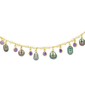 keshi Tahitian Pearl gold Jewelry lariat necklace collier de perle de tahiti bijoux or