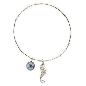 Tahitian Pearl silver Jewelry Earrings Boucle d'oreille de perle de tahiti bijoux argent, Pearl & Seahorse Charm Silver Bangle