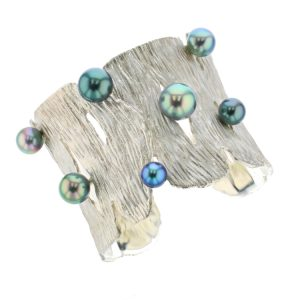 Seagrass Cuff, Diamonds Tahitian Pearl Gold Jewelry bracelet de Perles de Tahiti or bijoux