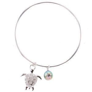 Tahitian Pearl silver Jewelry Earrings Boucle d'oreille de perle de tahiti bijoux argent, Tahitian Pearl vermeil Jewelry Earrings Boucle d'oreille de perle de tahiti bijoux vermeil, Pearl & Turtle Charm Silver Bangle