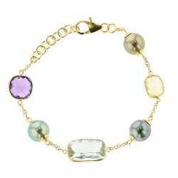Gem Tahitian Pearl Gold Jewelry Bracelets de Perles de Tahiti or bijoux