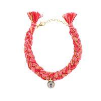 Bracelet tressé, Braided Cord Bracelet, Perles de Tahiti or bijoux, Tahitian Pearl, vermeil and silver jewelry, vermeil chain and tahitian pearl