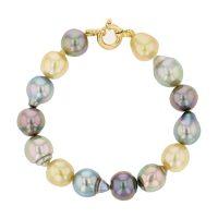 Multicolor Pearl Gold Bracelet, Tahitian Pearl Jewelry Necklace Colliers de Perles de Tahiti or bijoux