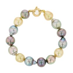 Multicolor Pearl Gold Bracelet, Tahitian Pearl Jewelry Necklace Colliers de Perles de Tahiti or bijoux