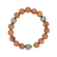 Wood Bead & Pearl Bracelet, Perles de Tahiti or bijoux, Tahitian Pearl, vermeil and silver jewelry, vermeil chain and tahitian pearl