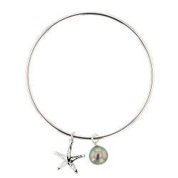 Starfish Charm & Pearl Bangle, Tahitian Pearl, Sterling silver, Argent, Starfish, Charms, Hinerava, perles de tahiti