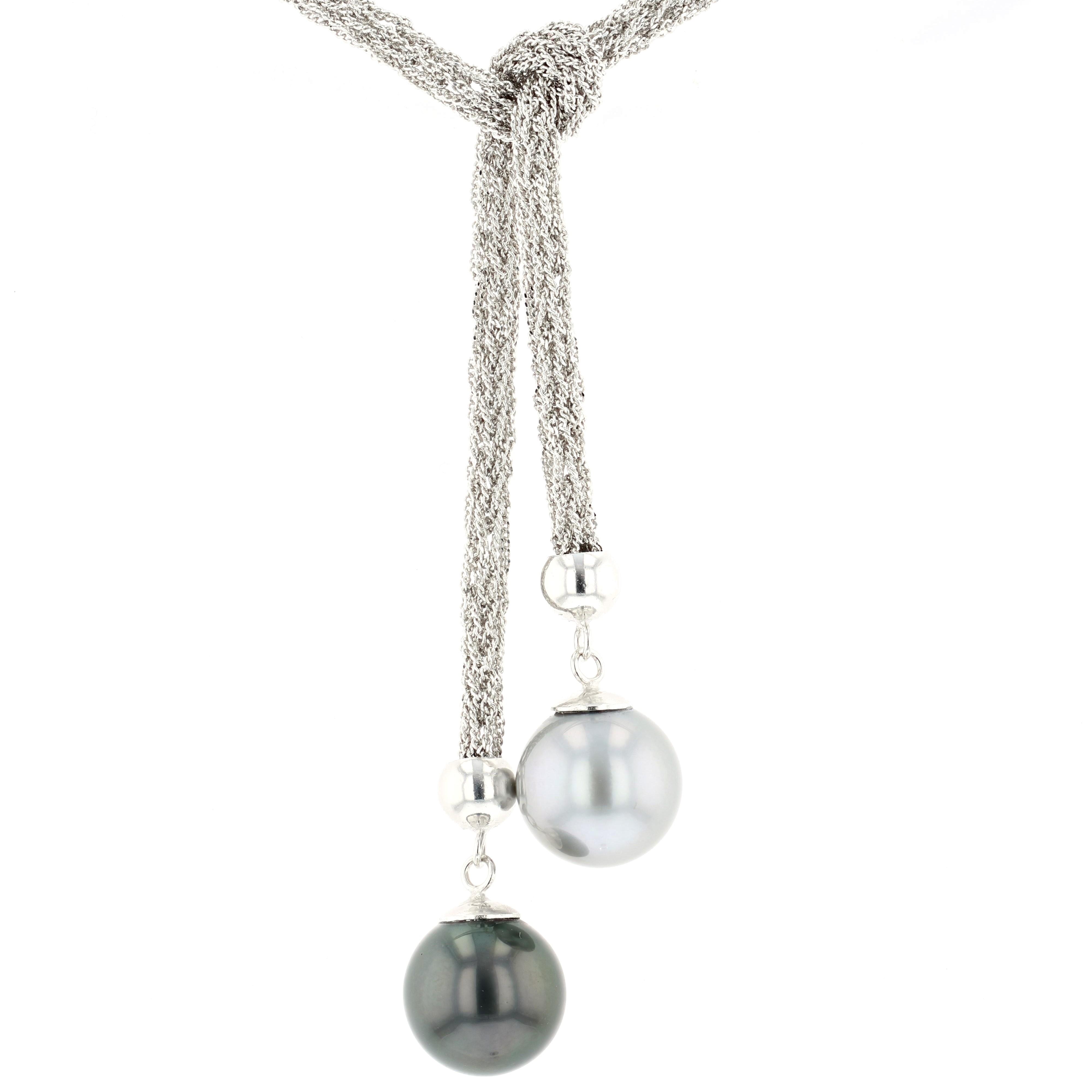 Tahitian Pearl silver Jewelry lariat collier perle de tahiti bijoux