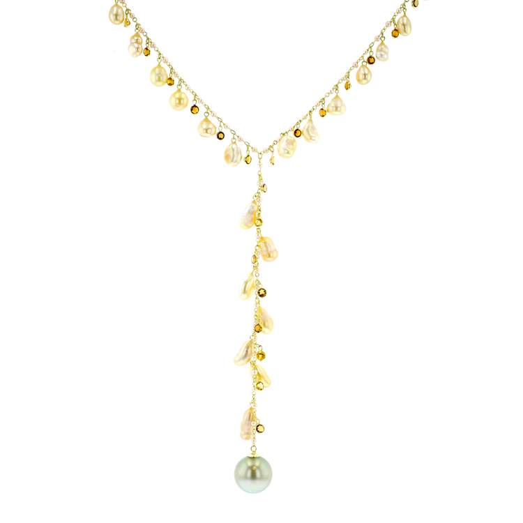 golden sea pearls citrine keshi Tahitian Pearl gold Jewelry neckalce lariat collier de perle de tahiti bijoux or