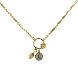 Tahitian Pearl Jewelry Tahitian Pearl Necklace Luxury Pearls, Sapphires Pearl necklace, toi & moi necklace, toi et moi necklace, Vermeil Circle and Leaf Charm Necklace,