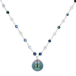White and Blue Sapphires Single Pearl Necklace, Tahitian Pearl Jewelry Necklace Colliers de Perles de Tahiti or bijoux