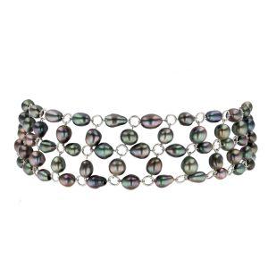 Hinerava, Keshi Choker necklace, multicolor keshis, white gold, Tahitian Pearl Jewelry, Tahitan Pearls, Tahiti, Luxury Pearl Jewelry