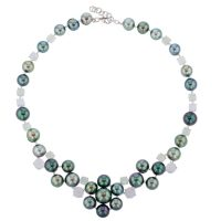 Aquamarine & Diamond Pearl Bib, Tahitian Pearl Jewelry, Tahitan Pearls, Tahiti, Luxury Pearl Jewelry