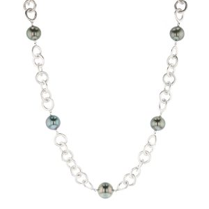 Silver Station Necklace, Necklace Tahitian Pearl Jewelry perle de tahiti bijoux silver argent